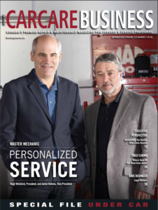 Hugh and Jamie together being featured on the front page of CarCare Business magazine