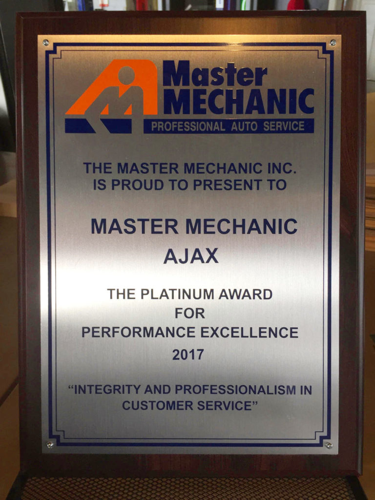 Master Mechanic Ajax Customer Service Platinum Award
