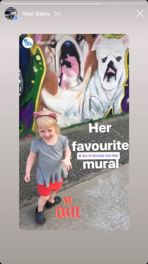 Clara–the girl that inspired the Tillie–visits the mural at Master Mechanic High Park.