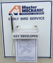 Master Mechanic Early Bird Service Key Envelope